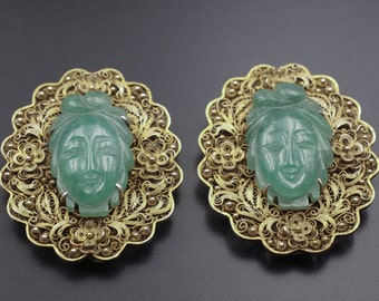 Chinese Export Silver, Chinese Jade, 1800s Jewelry, Chinese Silver, Antique Fur Clip, Antique Dress Clip, Chinese Jewelry, Jade Jewelry