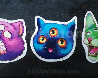 Monster Cat Stickers (Set & Individual Options)