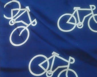 Navy Bicycle Print Peachskin Fabric