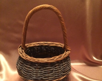 Vintage Light Brown and Green Basket