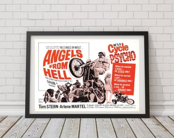 "LARGE SIZE Vintage Movie Poster Print ""Angels From Hell""/ B Movie Poster / Retro Movie Poster / Cycle Psycho / Vintage Motorcyclc Postere"