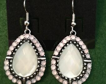 Light green opal teardrop earrings