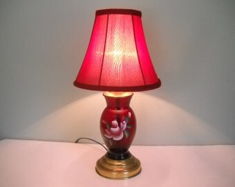 Red Glass lamp with a Painted Rose
