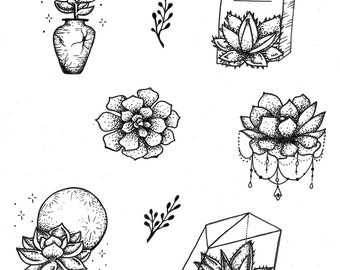 dotwork succulents tattoo flash sheet print