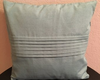 Turquoise Pillow Cover with Pleats