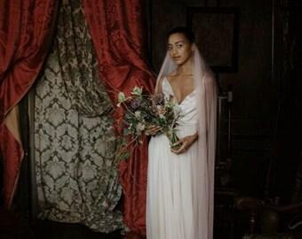 Gemma Blush Tulle Chapel Length Veil - Wedding Accessories - Custom Veil - Bridal Veil