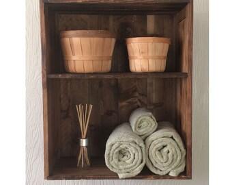 Rustic Open Shelf Cabinet