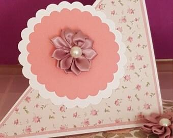Handmade floral 'twist-fold' card
