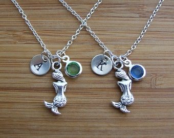 Mermaid Necklaces, Set of TWO Best Friends Necklaces, Sisters Necklaces, Personalized Birthstone Initial Necklaces, Monogram