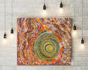 Meditation painting Orange and Blue Spirals Yoga art 70х80 cm Wall Abstract painting