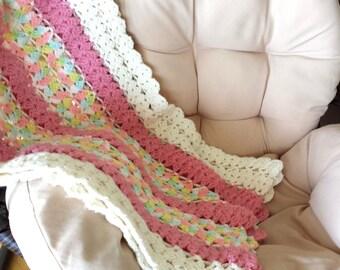 """Vintage Crochet Blanket, Vintage Blanket, Crochet Blanket, Vintage Throw Blanket, Throw Blanket, Home Accent, 60 x 20"""""""