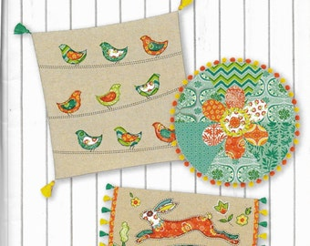 Folklore Throw Pillows Pattern AND 2 Fabric Kits Lily Ashbury Folklore Rabbit Folklore Birds on Wires Folklore Flower Bohemian