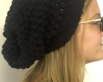 Black Super Slouchy Crochet Beanie