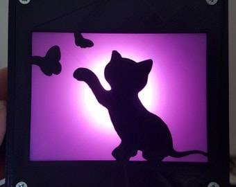 3D Printed Night Light - Kitty and Butterflies 100x100mm (Black & Glow in the dark PLA)