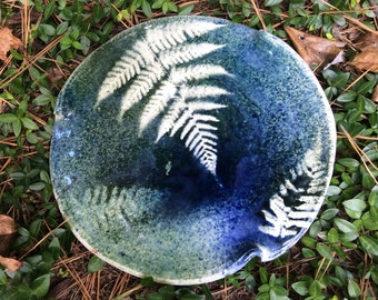 Blue and green unique fern plate