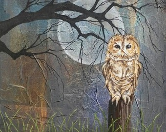 TAWNY OWL, Original Owl Mix Media Painting, Silhouette Trees