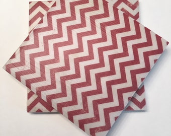 Red Chevron Print- Ceramic Coasters - Set of Two
