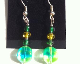 Green bead earrings
