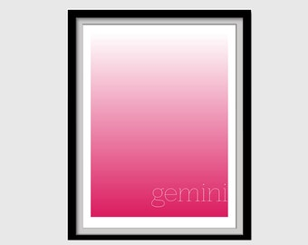 Gemini - Astrology Sign Wall Print Download Pink