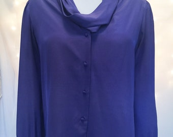 XL Vintage Purple Cowl Neck Button Down Blouse - Modest and Work Appropriate - Size 14