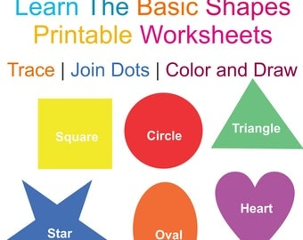 Learn Basic Shapes Printable Worksheets  Color Draw and Trace 5 pdf files