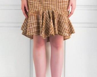 Brown Cotton Khadi Check Skirt