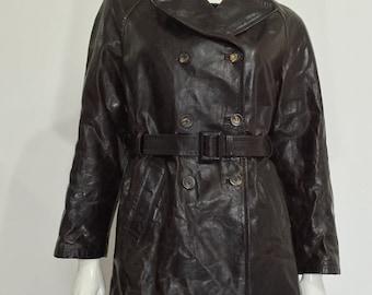 Vintage leather jacket Brown 44 S Florence leather jacket women's jacket used sz w30 used vintage jacket vintage retro