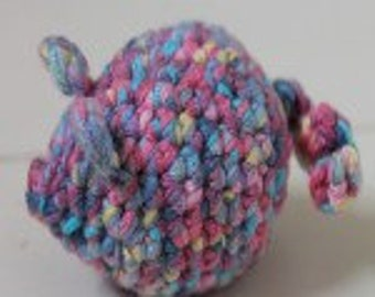 Crochet roly poly mouse cat toy filled with catnip
