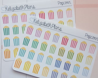 Multicoloured Popcorn, Movie Night, Television, Cinema Planner Stickers