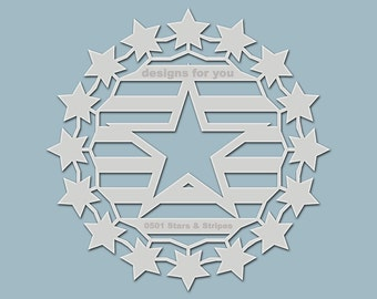 """Template / stencil """"Stars and Stripes"""" (Silhouette) for textile design, mixed media, scrapbooking, canvas, decoration, walls..."""