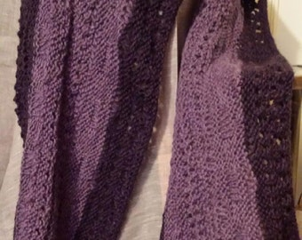 Purple heather handknit shawl