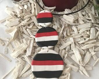 Stripes necklace, polymer clay, handmade