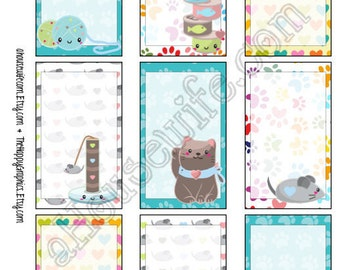 Cat, Happy Planner stickers [13] , Full box, A5 PDF, Instant download