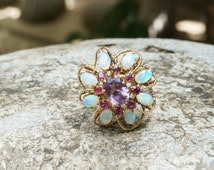 Stunning 14K amethyst, ruby and opal openwork cluster ring