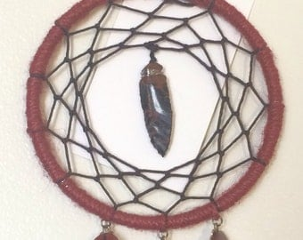 Red and brown arrowhead dream catcher