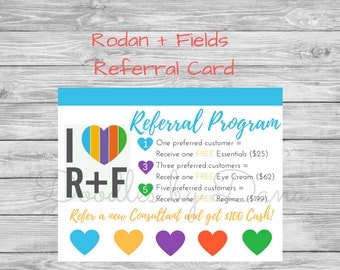 Rodan and Fields Referral Card - postcard size - Printable - Digital Download- Rodan + Fields card