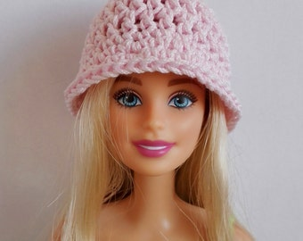 Pink Barbie doll cloche hat, fashion doll hat