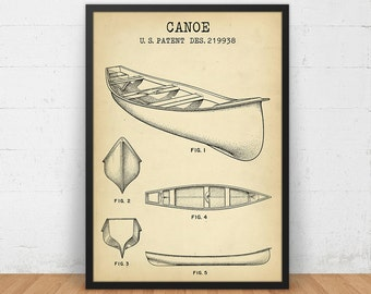 Canoe Patent Print, 4 Colors Digital Download, Nautical decor, Canoe Blueprint, Beach House Decor, Nursery Wall Art, Boat Art Patent Poster