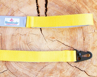Yellow Dog Lead Strong Dog Leash Webbing Dog Lead Australian Made Heavy Duty Leash Yellow Dog Leash Australian Sellers Two Tone Webbing