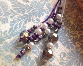 Braided Bookmark, purple and white, lovely beads