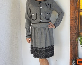 Classic Elegant jacket with Lace skirt / Chanel Classy suit / Office Wear / Stylish Woman Suit