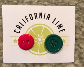 Red & Green Button Earrings