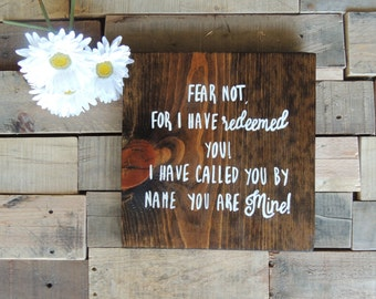 Hand Painted Wood Sign / Scripture Verse / Reclaimed Wood Sign / Shabby Chic Decor / Rustic Home Decor