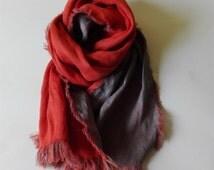 Bicolor Linen Scarf | Orange Scarf | Gray Scarf | Natural Linen Scarf | Autumn Scarf | Linen Shawl | Flax Shawl