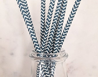 Navy Blue Chevron Paper Straws (25)