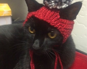 Knit Kitty Hat Green and Red