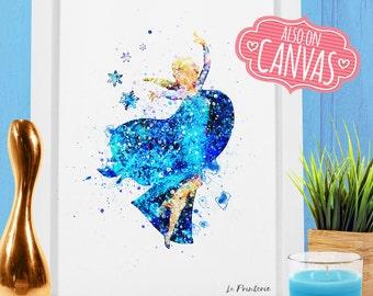 Elsa, Frozen Elsa Decor, Snow Queen Disney Frozen Elsa Party, Elsa Frozen Print Babyshower Gift Canvas Princess Wall Art Watercolor Poster