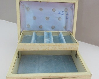 Vintage Jewelry Box Case Leatherette Delicate Petite Jewels Trinkets Collectible