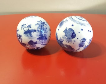 Vintage Blue and White Ball Ornament, Home Ornament Decor, Sphere Decorative Ceramic Balls Blue and White, Beach Scene Fish and Boats
