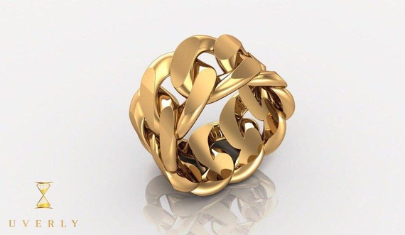 14k Solid Real Yellow Gold Miami Cuban Link Men's Ring 22.1g 15mm All Sizes